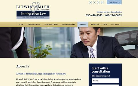 Screenshot of About Page litwinlaw.com - Northern California Immigration Law Attorney | Litwin & Smith | South San Francisco Green Card Lawyer | CA San Jose Bay Area - captured Nov. 11, 2016