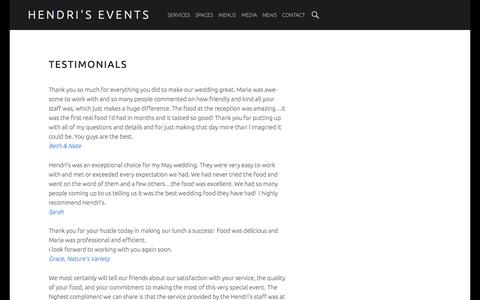 Screenshot of Testimonials Page hendris.com - Testimonials | Hendri's Banquets & Catering | St. Louis MO Catering Company |  Banquets, Events, Party & Wedding Caterer located in St. Louis Missouri | Hendri's Events - captured June 21, 2016