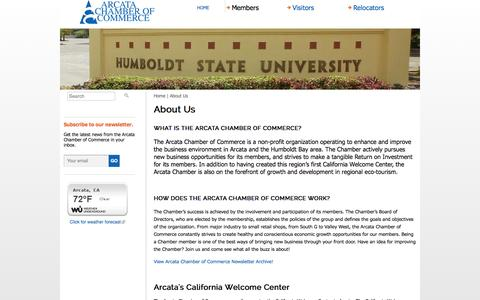 Screenshot of About Page arcatachamber.com - About Us | Arcata Chamber of Commerce - captured Oct. 4, 2014