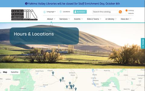 Screenshot of Locations Page yvl.org - Hours & Locations - Yakima Valley Libraries - captured Oct. 2, 2018