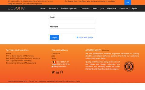 Screenshot of Login Page acsone.eu - Login | Acsone - captured Oct. 7, 2017