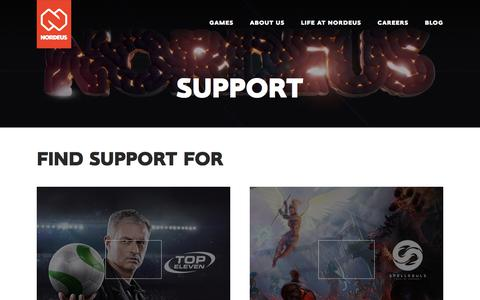 Screenshot of Support Page nordeus.com - Nordeus | Support - captured Feb. 9, 2018