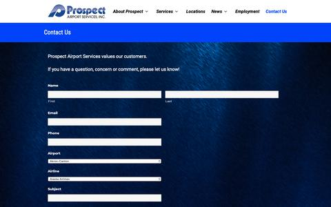 Screenshot of Contact Page prospectair.com - Contact Us   Prospect Airport Services - captured Sept. 30, 2018