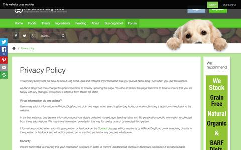 Screenshot of Privacy Page allaboutdogfood.co.uk - Privacy Policy - All About Dog Food.co.uk - captured March 29, 2018