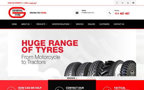 Screenshot of Home Page gentipak.com - The GENERAL TYRE & Rubber Company of Pakistan Limited | No.1 Tyre Brand in Pakistan - captured July 24, 2017