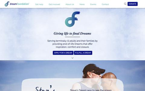 Screenshot of Home Page dreamfoundation.org - Dream Foundation » Giving Life to Final Dreams - captured Oct. 22, 2017