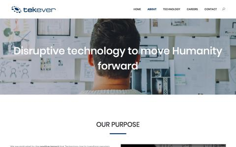 Screenshot of About Page tekever.com - About - TEKEVER - captured Sept. 21, 2018