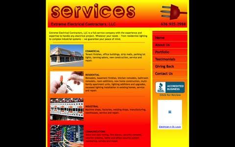 Screenshot of Services Page extremeelectricalstl.com - Our Services - Extreme Electrical Contractors, LLC - captured Oct. 1, 2014