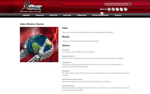 Screenshot of Team Page xbot.com.br - Visão, Missão e Valores  |  XBot – Aprimorando o ensino com tecnologia - captured Sept. 30, 2014