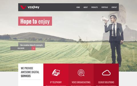 Screenshot of Home Page voxbaysolutions.com - Voxbay Solutions - captured Oct. 7, 2014