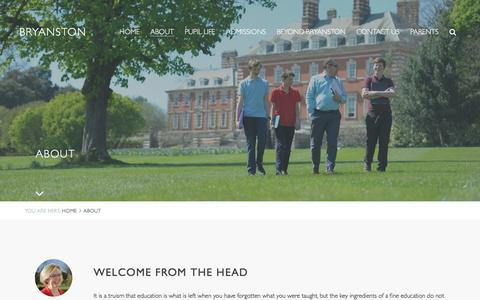 Screenshot of About Page bryanston.co.uk - Bryanston School - About - captured Feb. 8, 2016