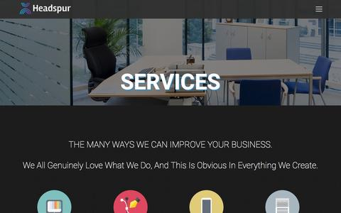 Screenshot of Services Page headspur.com - Services | Headspur LLC - captured Jan. 27, 2016