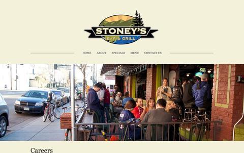 Screenshot of Jobs Page stoneysbarandgrill.com - Careers - Stoney's Bar & Grill - captured Oct. 7, 2014