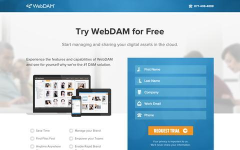Screenshot of Trial Page webdam.com - Free Trial - WebDAM - captured Sept. 22, 2014