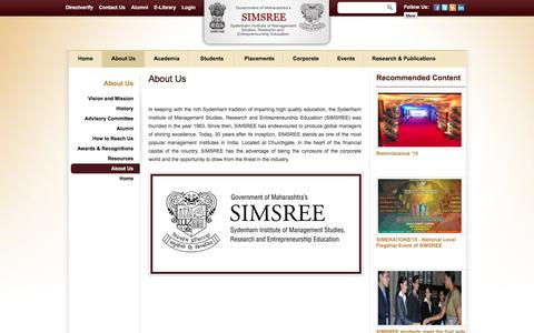 Screenshot of About Page simsree.org - About Us | SIMSREE - captured Feb. 22, 2016