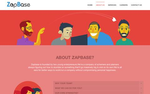 Screenshot of About Page zapbase.in - About Us   ZapBase - captured Jan. 10, 2016