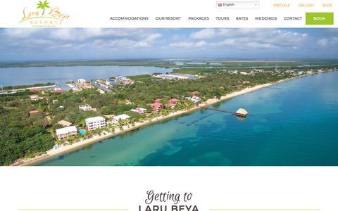 Screenshot of Maps & Directions Page larubeya.com - Getting to Laru Beya Beach Resort - Placencia, Belize - captured Sept. 22, 2018