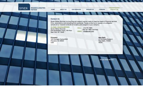 Screenshot of Contact Page syven.com - Contact Us « Syven : Research and Analytics Partners - captured Oct. 7, 2014