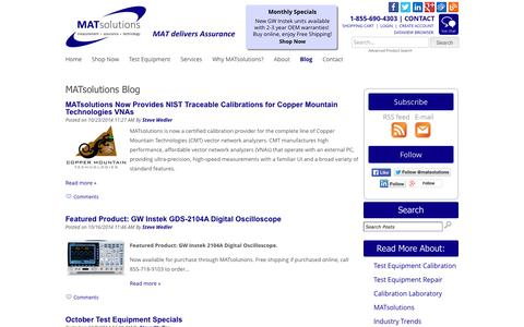 Screenshot of Blog matsolutions.com - Electrical Test Equipment Calibration Services | Used Laboratory Equipment Sales | MATsolutions - captured Oct. 29, 2014