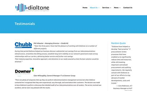 Screenshot of Testimonials Page dialtone.co.nz - Testimonials by happy Dialtone customers including Downer - captured Oct. 9, 2018
