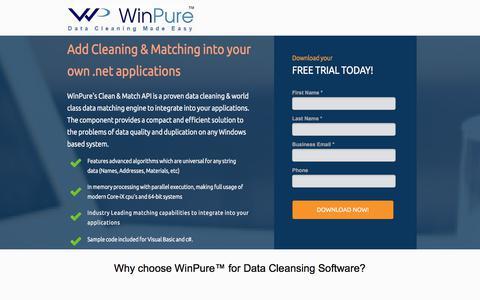 Screenshot of Landing Page winpure.com - Award-Winning Data Cleansing and Matching Software. - captured Sept. 19, 2018