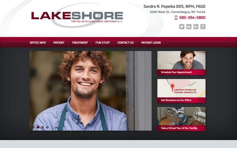 Screenshot of Home Page lakeshore-dentistry.com - General & Cosmetic Dentistry | Canandaigua, Victor & Geneva, NY | Family Dentistry - captured Sept. 26, 2018
