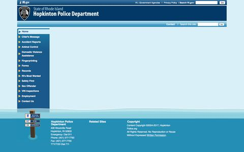 Screenshot of Menu Page hopkintonpolice.org - Hopkinton Police Department: - captured July 22, 2018