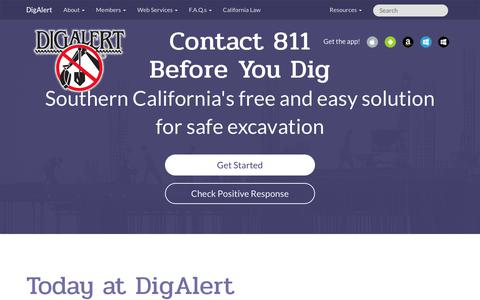 Screenshot of Home Page digalert.org - DigAlert | Utility Locating California | Underground Wire & Cable Locator - captured June 30, 2018