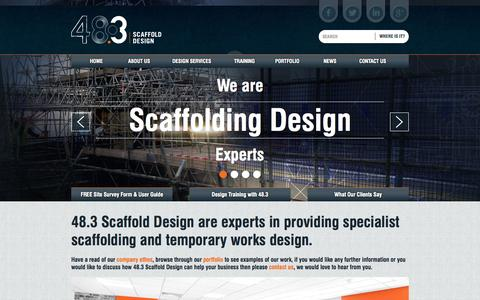 Screenshot of Home Page Menu Page 483scaffolddesign.com - We are Scaffolding Design Experts - 48.3 Scaffold Design - captured Oct. 9, 2014