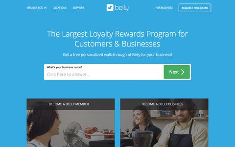 Screenshot of Home Page bellycard.com - Business Customer Loyalty Program | Belly - captured Sept. 25, 2015
