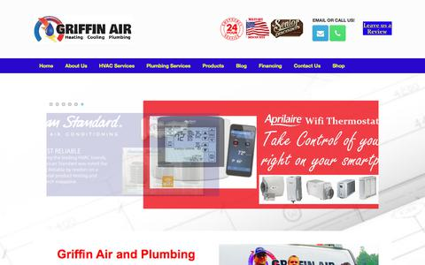Screenshot of Home Page griffinair.net - HVAC and Plumbing Services in Virginia | Griffin Air - captured July 25, 2018