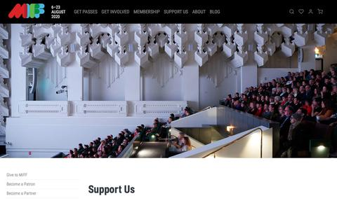 Screenshot of Support Page miff.com.au - Support Us | MIFF 2020 - captured Feb. 7, 2020