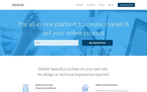 Screenshot of Home Page thinkific.com - Create, Market & Sell Online Courses on your Branded eLearning site - captured Nov. 20, 2015