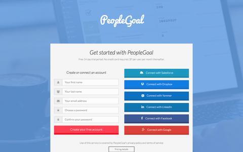 Screenshot of Signup Page peoplegoal.com - Register your business for PeopleGoal - captured Dec. 8, 2015