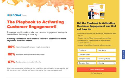 Screenshot of Landing Page boldchat.com - The Playbook to Activating Customer Engagement | BoldChat - captured March 5, 2017