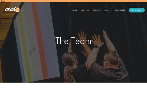 Screenshot of Team Page avad3.com - The Team — avad3 Event Production - captured Oct. 4, 2018