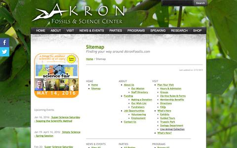 Screenshot of Site Map Page akronfossils.com - Sitemap - Akron Fossils & Science Center - captured Feb. 5, 2016