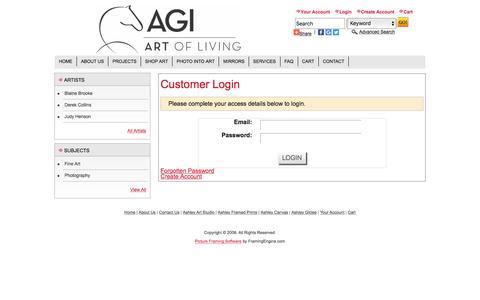 Screenshot of Login Page ashleygalleryinc.com - Ashley Gallery Inc | The ART of Living  - Customer Login - captured May 30, 2017