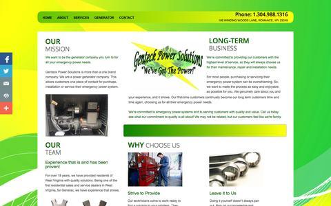 Screenshot of About Page genteckrepair.com - Genteck Power Solutions Generator Mission - captured Nov. 1, 2014