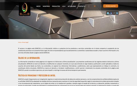 Screenshot of Terms Page sancus.es - Aviso legal - captured July 22, 2016
