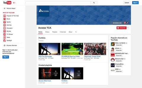 Screenshot of YouTube Page youtube.com - Access TCA  - YouTube - captured Oct. 23, 2014