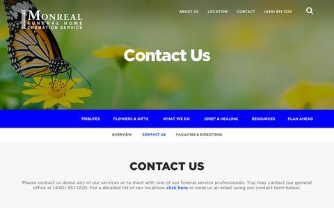Screenshot of Contact Page monrealfuneralhome.com - Contact Us | Monreal Funeral Home - Eastlake, OH - captured Oct. 31, 2018