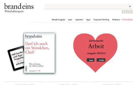 Screenshot of Home Page brandeins.de - Startseite - brand eins online - captured Sept. 13, 2014