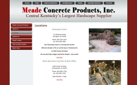 Screenshot of Locations Page meadeconcreteproducts.com - Locations - Meade Concrete Products - captured Oct. 27, 2014