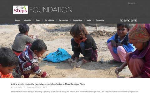 Screenshot of Home Page littlesteps.org.in - Little Steps Foundation – NGO in Delhi, India   Education        NGO for Education in Delhi, NGO working for Education in Delhi, NGO Working in Muzaffarnagar, NGO Working for Muzaffarnagar Riot victims, - captured Oct. 3, 2014