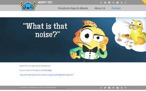 Screenshot of Support Page mightyyeti.com - Support - Mighty Yeti Studios - captured Oct. 27, 2014