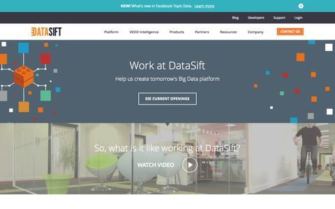Screenshot of Jobs Page datasift.com - Careers at DataSift - captured Oct. 2, 2015