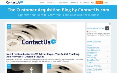 Screenshot of Blog contactus.com - The Customer Acquisition Blog by ContactUs.com | ContactUs.com - captured July 19, 2014