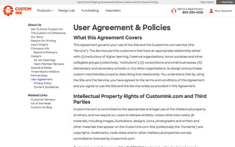 User Agreement | About Custom Ink