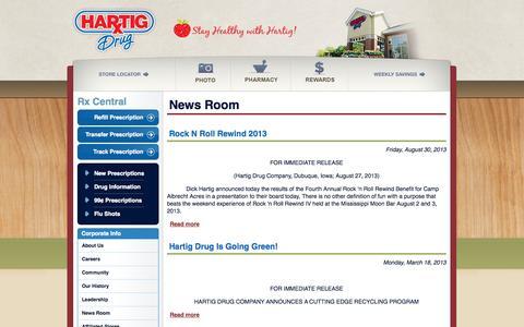 Screenshot of Press Page hartigdrug.com - News Room | Hartig Drug Stores - captured Sept. 29, 2014